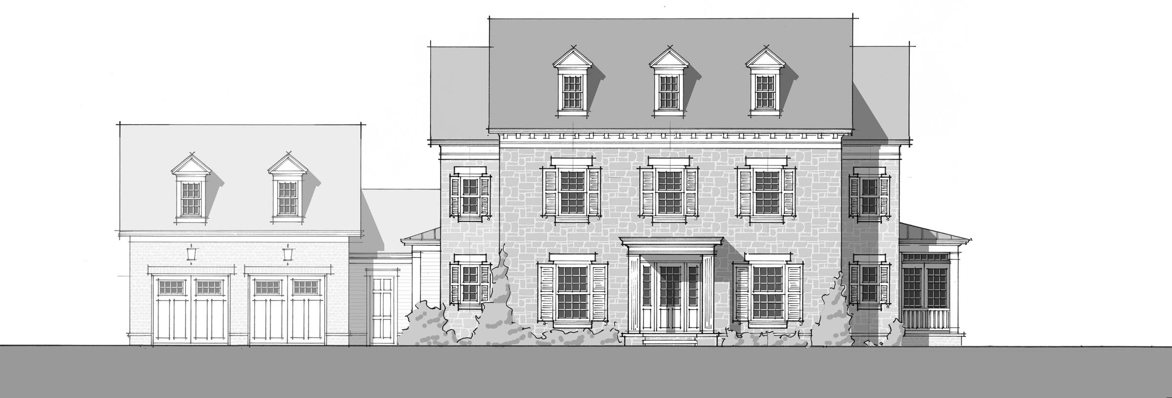 Colonial Revival 1969 - Front Elevation_2400